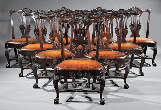 ~ George III-Style Carved Mahogany Dining Chairs ~ liveauctioneers.com