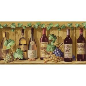 The Wallpaper Company 8 In X 10 In Jewel Tone Wine Bottles Border Sample Wc1280561s At The Home Depot Wine Bottle Decor Wine Bottle Wine Bottle Wall