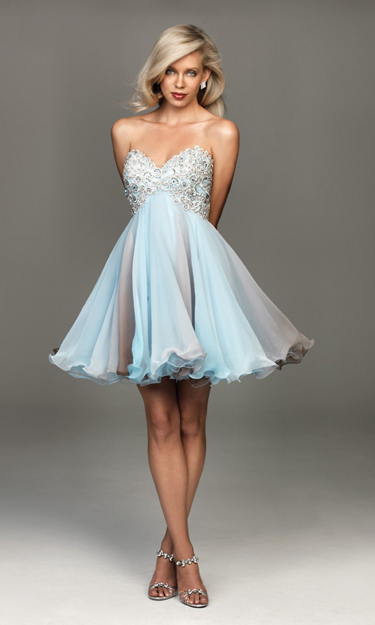 Short Blue Strapless Madison James Party Dress