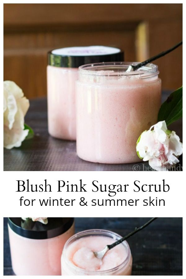 Homemade Blush Pink Sugar Body Scrub with Essential Oils