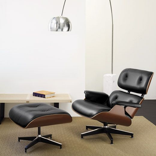 the infamous eames lounge chair and ottoman designed by charles and