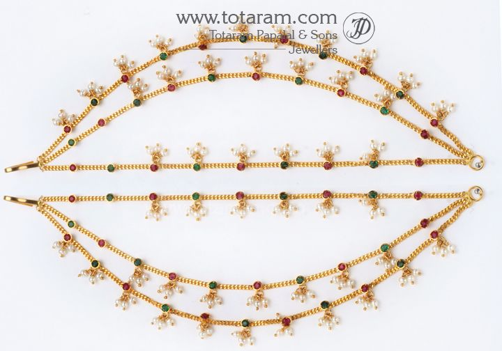 Buy 22 Karat Gold Jewelry Diamond Jewellery From India 22k Gold Champa Saralu Ear Chai Gold Jewelry Stores Gold Jewelry Gold Necklace Indian Bridal Jewelry