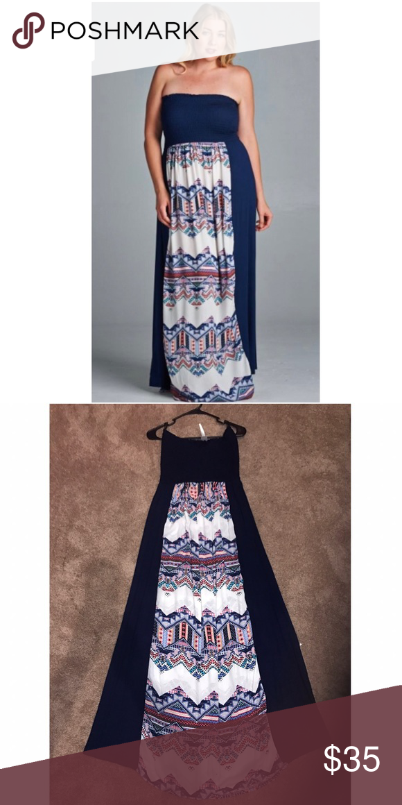 ✨BOUTIQUE✨ *PLUS* Strapless Maxi Dress Plus size Navy tube top ...