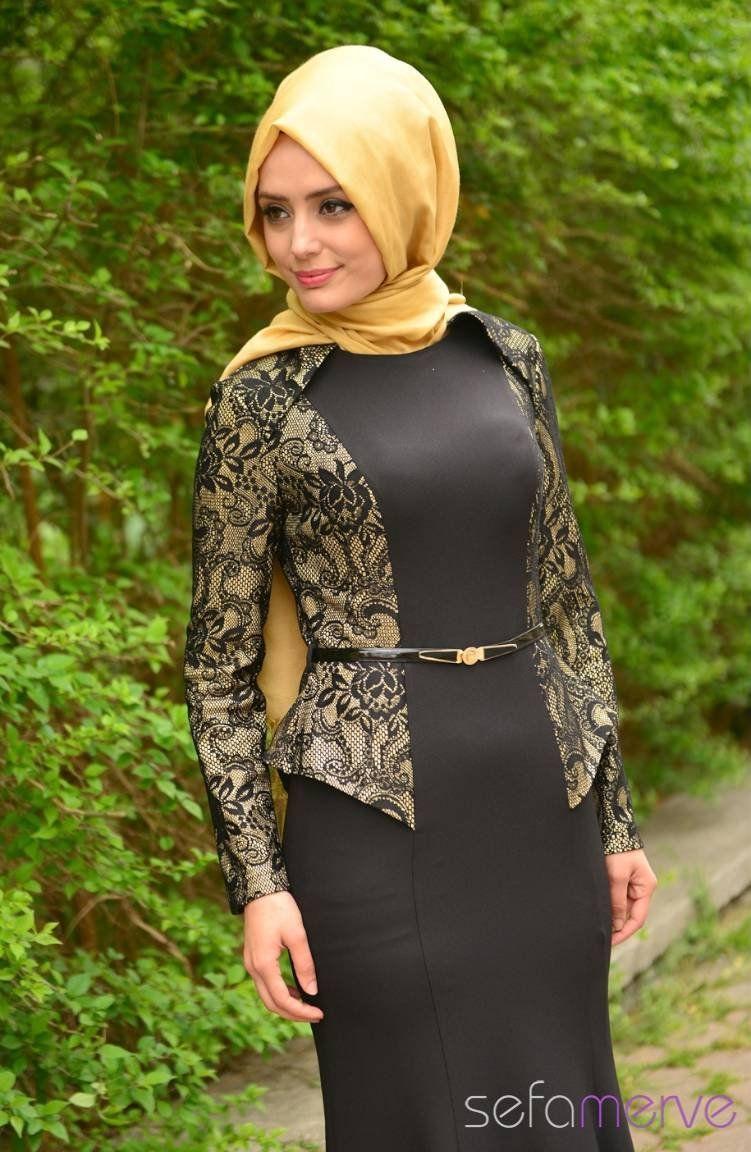 53478269ff47f Tesettür Abiye Elbiseler PDY 4707-02 Sarı | Muslimah Fashion & Hijab ...