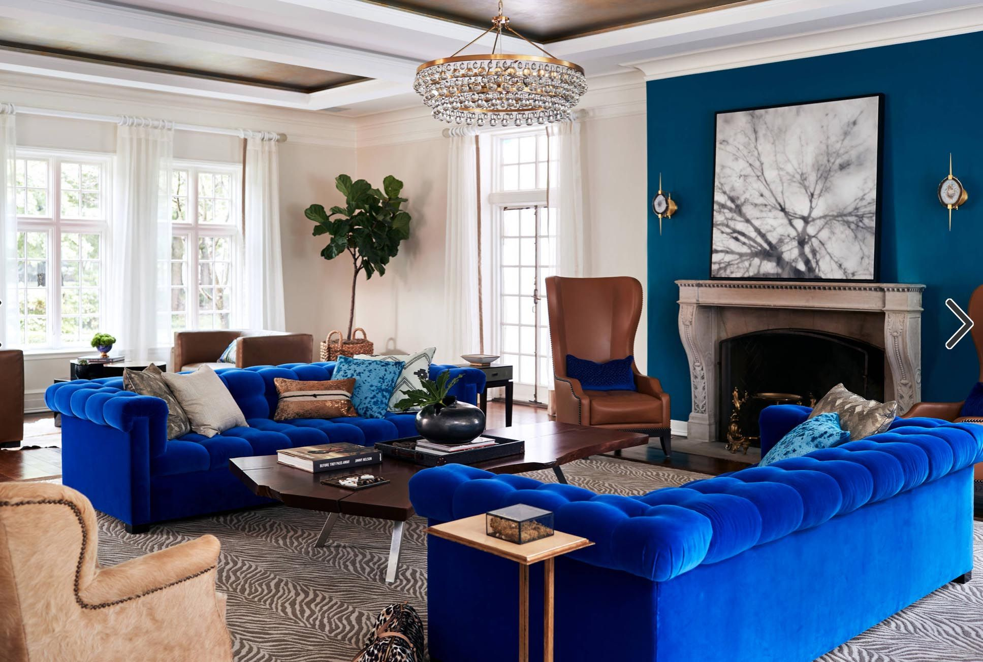 Royal Blue Velvet Sofa Tufted Blue Accent Wall Transitional