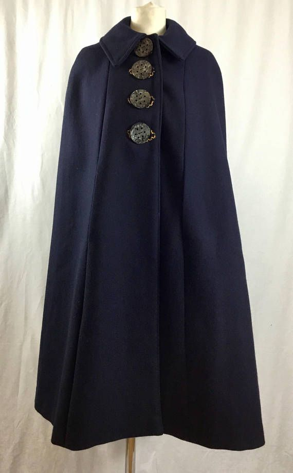 Vintage Navy Blue 1970s Wool Cape