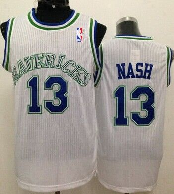 dab7d8518c3 ... Dallas Mavericks 13 Steve Nash White Swingman Throwback Jersey ...