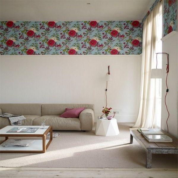 motif de papier peint du mur et au bord de l'image thème canapés salon