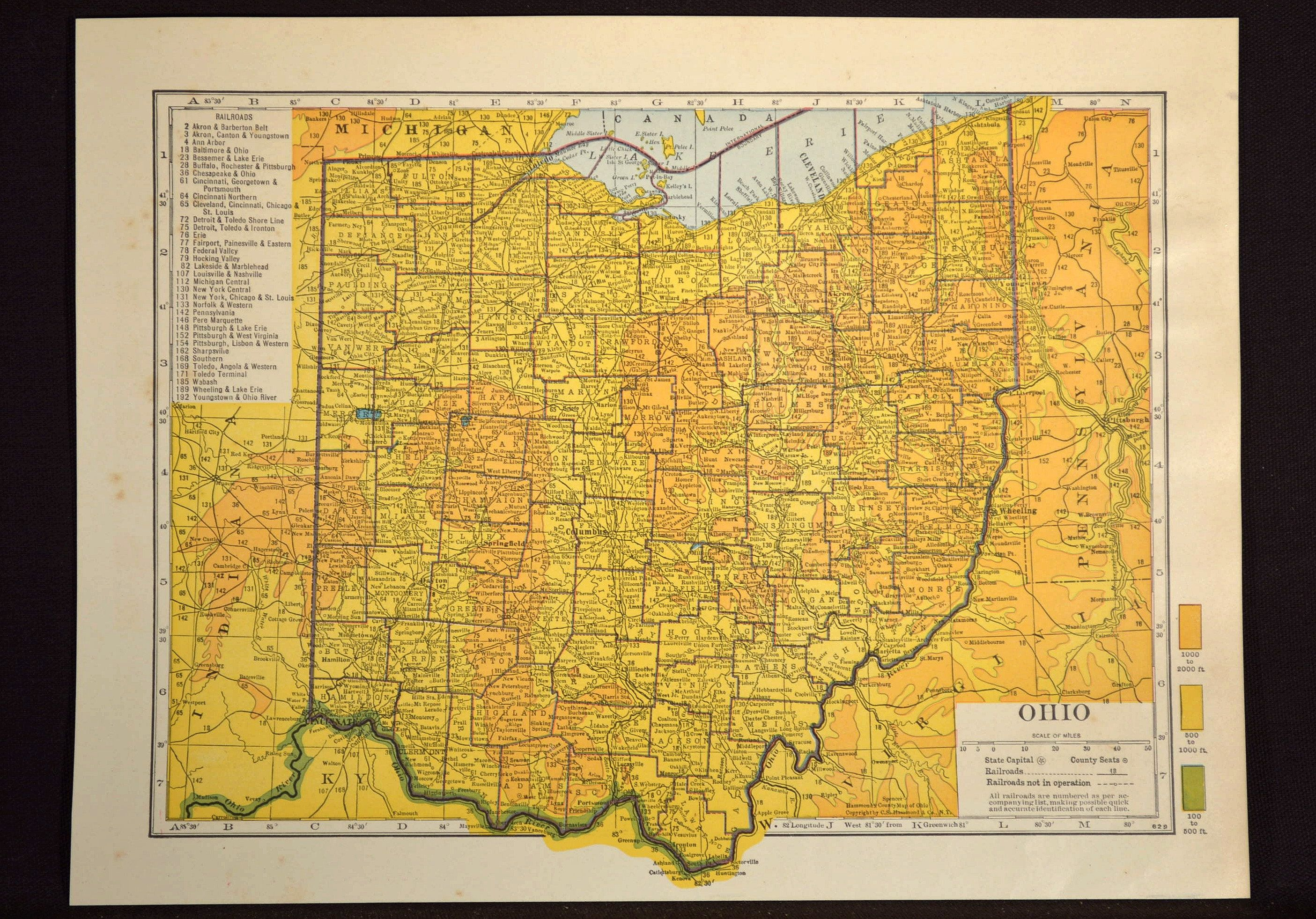 Ohio Map Ohio Topographic Map Colorful Colored Topo | Map Wall Decor ...