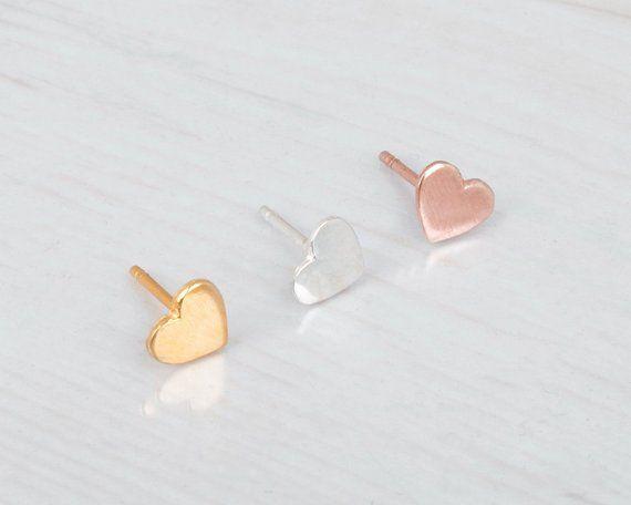 e7b2d13b14f236 Rose Gold Heart Stud Earrings, Heart Stud Earrings, Tiny Earrings, Pink Gold  Earrings, Cute Earrings