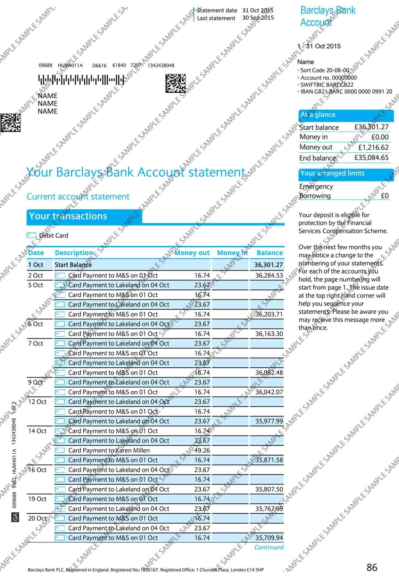 Barclays Bank Statement Bank Statement Payroll Template Statement