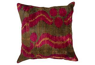 nuLOOM Silk Velvet Ikat Pillow, Dragon Fruit pillow