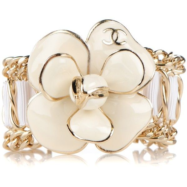 Chanel Enamel Camellia Chain Ribbon Bracelet White Ribbon Bracelets White Jewelry Jewelry