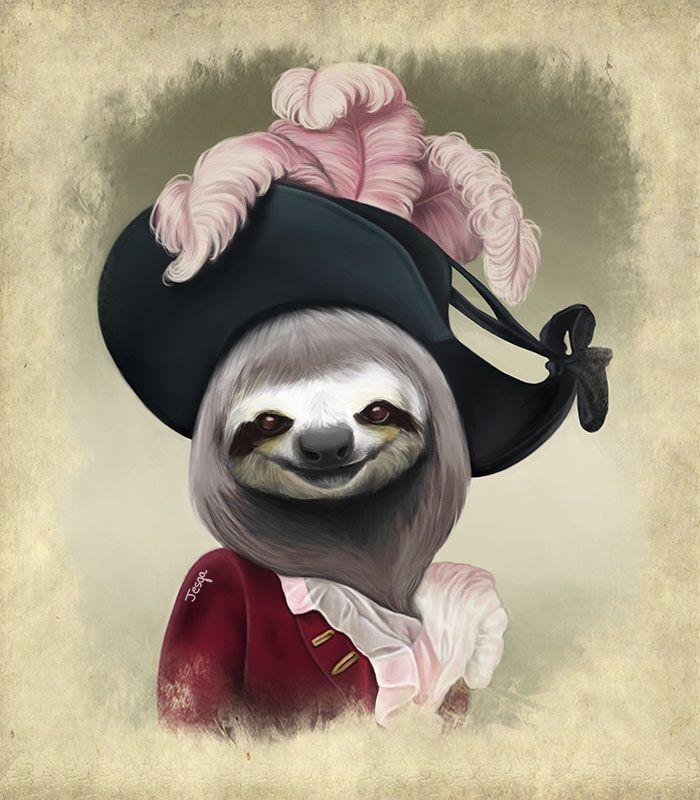 Aristocratic Lady Sloth, digital art   Animals   Pinterest   Sloth ...