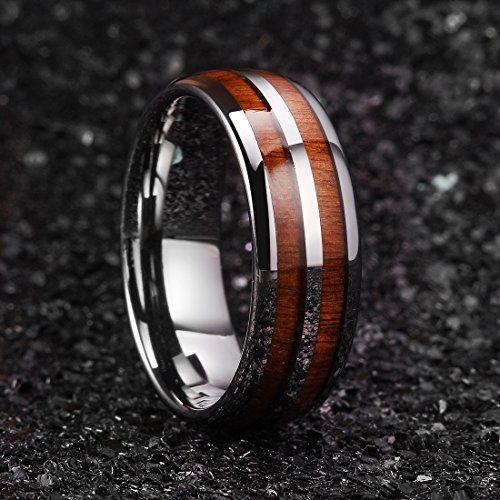 TM556s11.5 8MM Half Mahogany Wood Inlay Half Polished Dome Comfort Fit Wedding Band Comfort Fit Titanium Ring