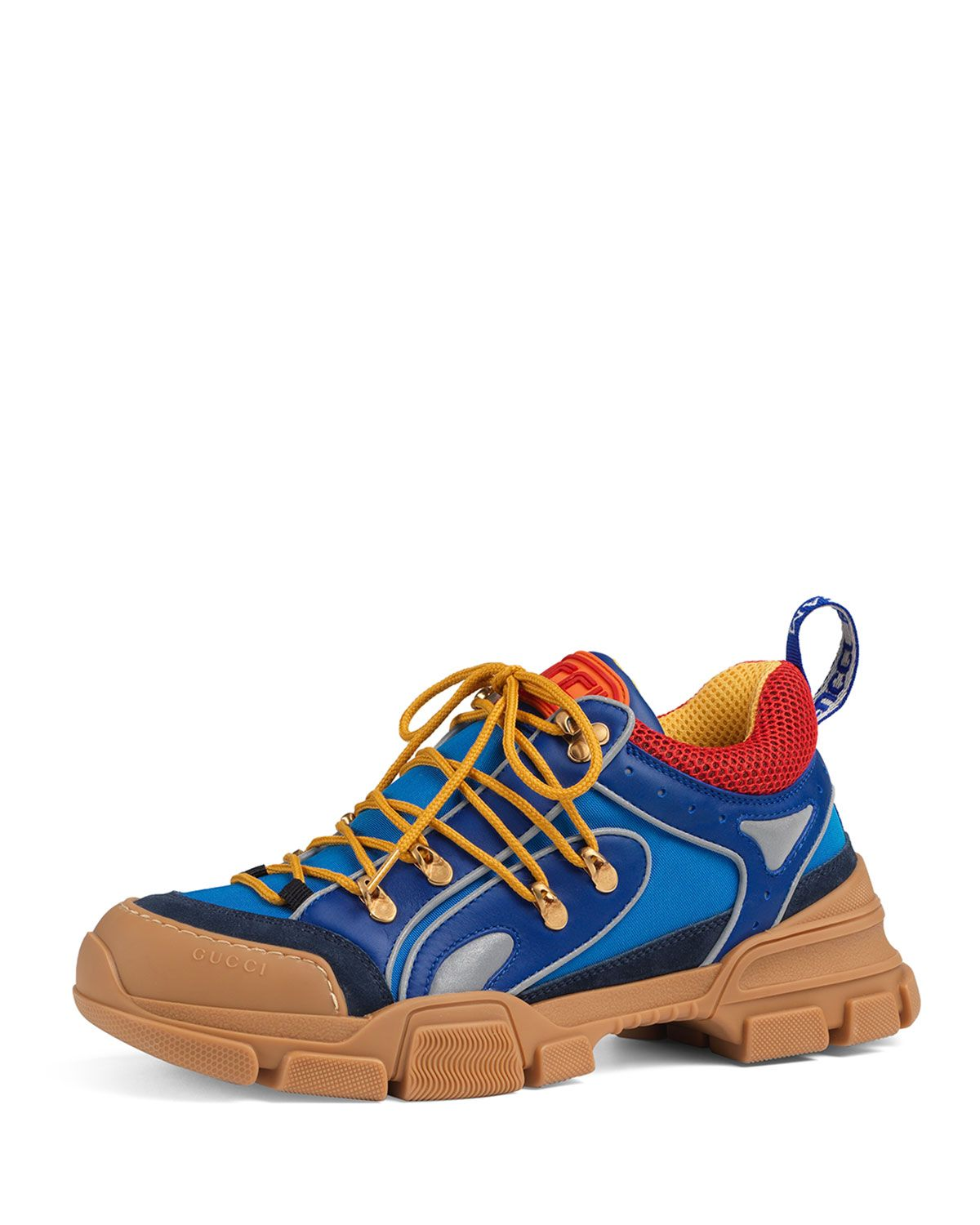newest ea5aa ba623 GUCCI MENS FLASHTREK LOW BOOT SNEAKERS, MULTI BLUE. gucci shoes