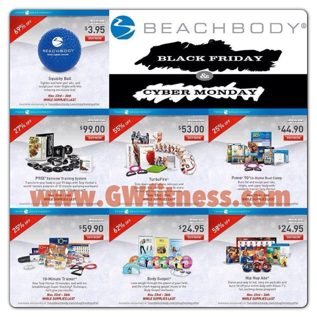 Black Friday Thru Cyber Monday Fitness Deals Available At Www Gwfitness Com Click Shop And Holid Beachbody Workout Program Beachbody Workouts Workout Programs
