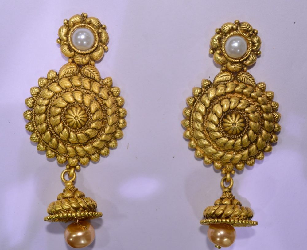 Indian Bollywood Bridal Jewelry Antique Matte Gold Plated Pearl