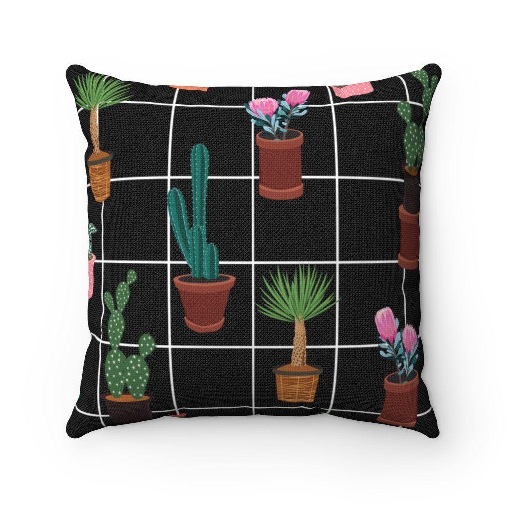Succulent & Cactus Throw Pillow Cover - 18 x 18