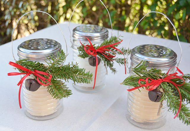 lanterns made from dollar tree parmesan cheese shakers.  how clever!