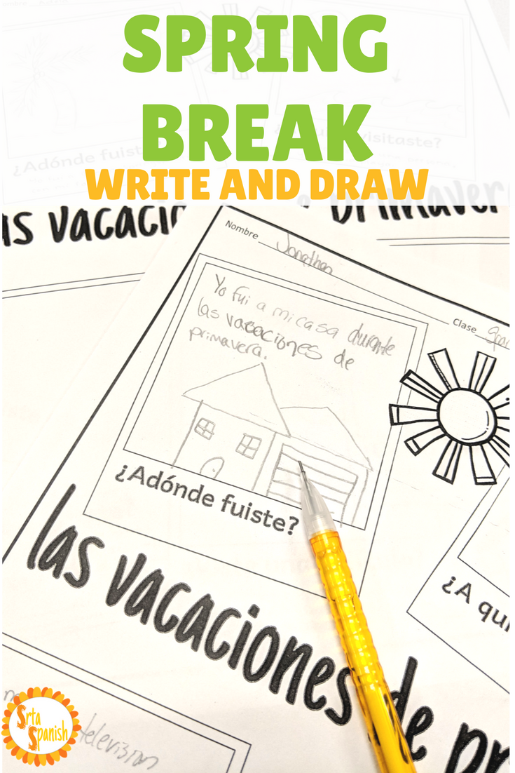 Workbooks spanish past tense worksheets : Spring Break Writing Activity in Spanish and English #teachmorespanish