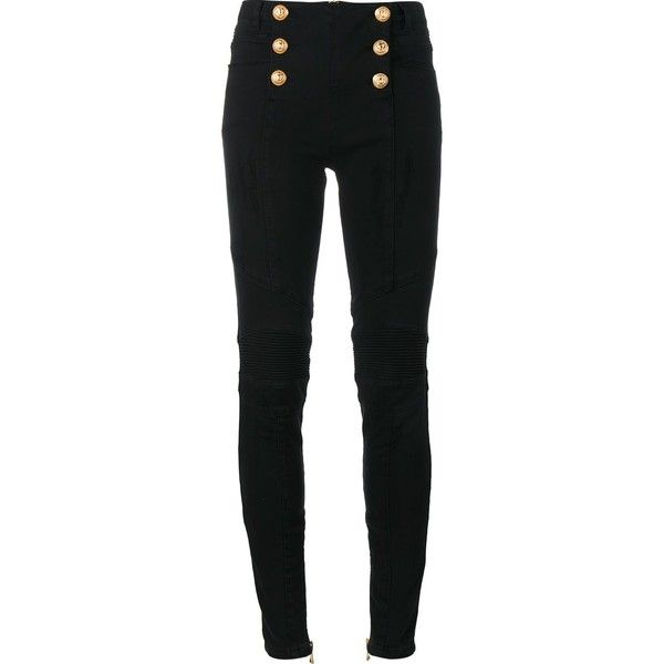 6e36b0c5 Balmain Metallic Button Biker Jeans ($1,062) ❤ liked on Polyvore featuring  jeans, balmain, black, button-fly jeans, super skinny jeans, high rise  skinny ...