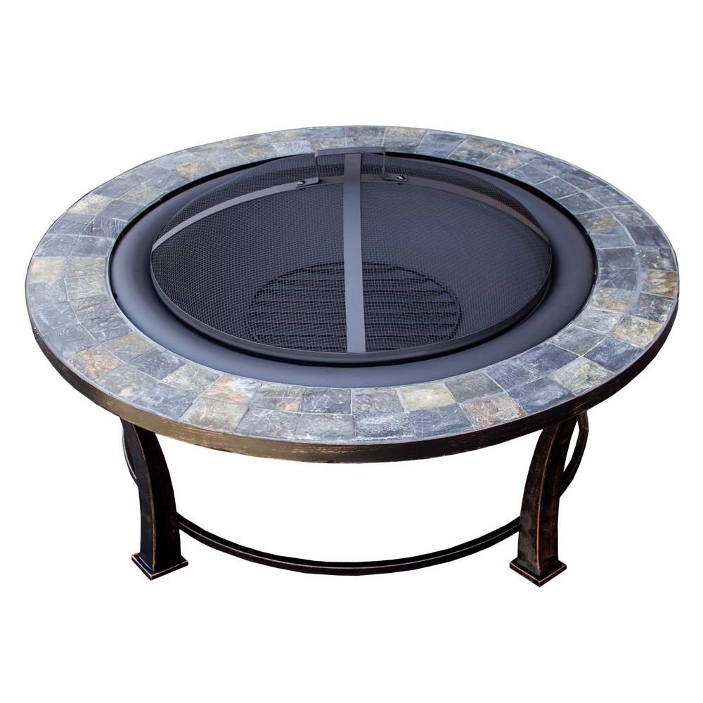 Az patio heaters in round slate wood burning firepit in black