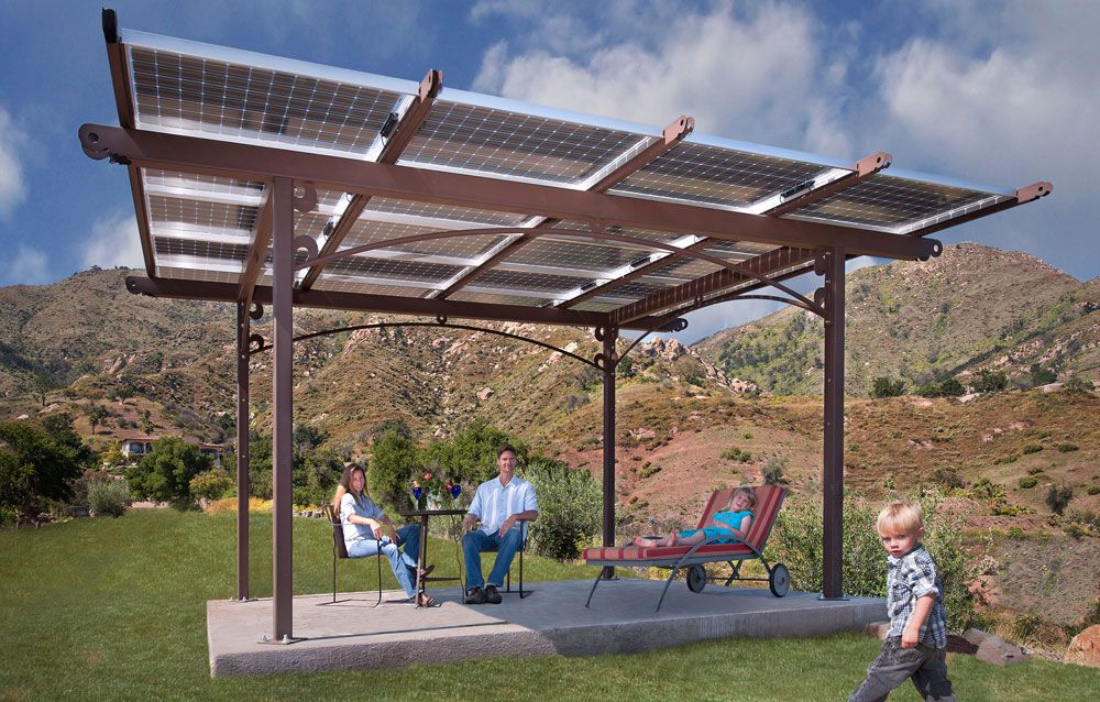 Double duty - solar panel pergola - Double Duty - Solar Panel Pergola Patio/Backyard Pinterest