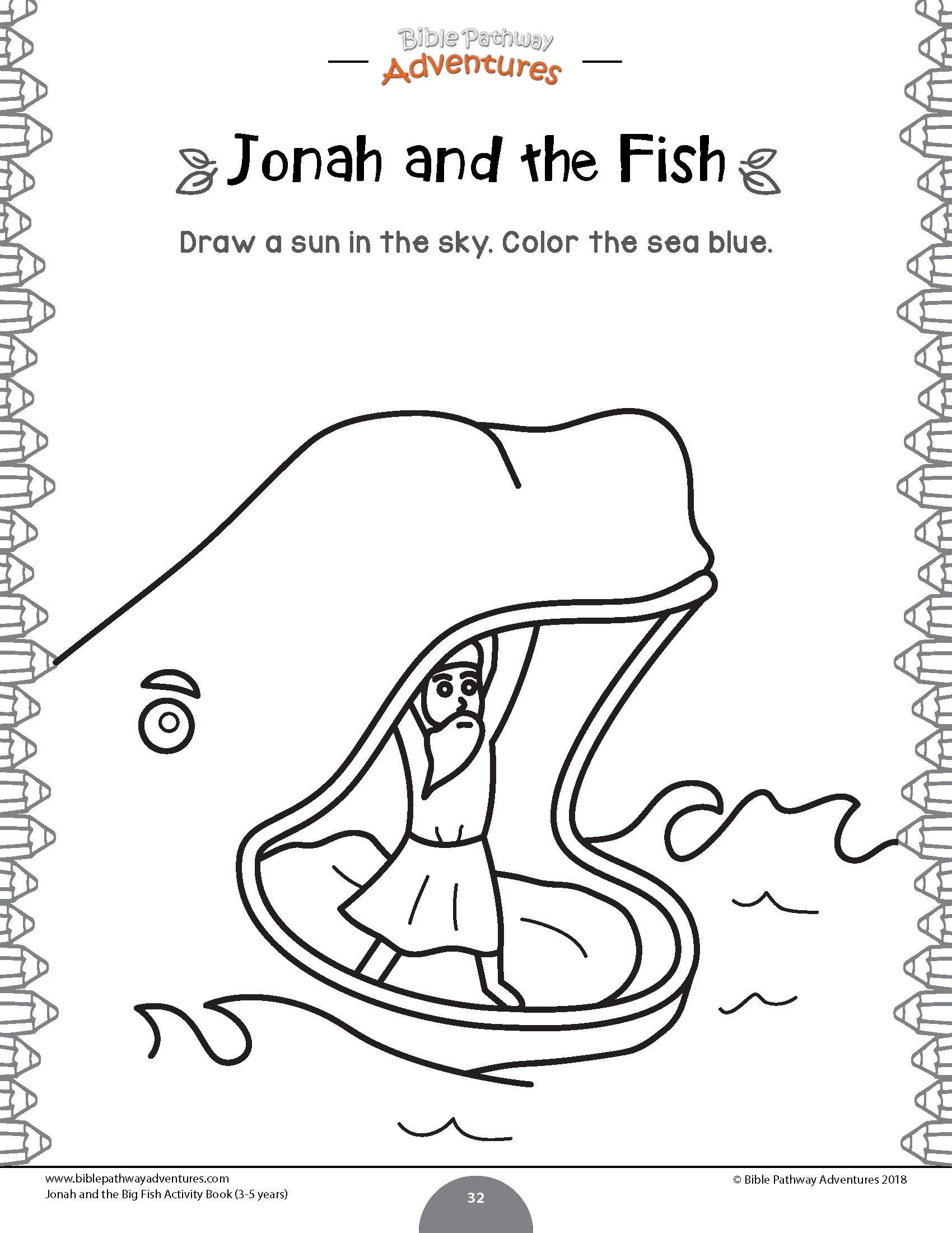 Jonah And The Fish Coloring Page For Kids