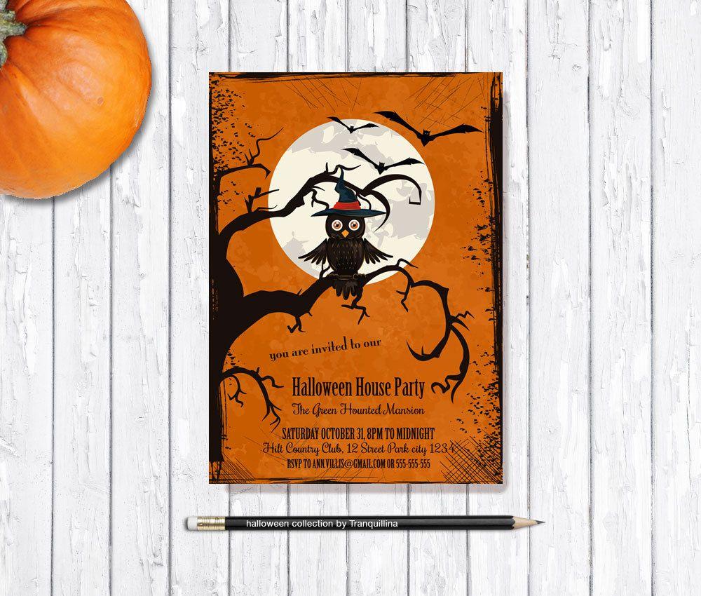 halloween party invitation printable halloween invitation owl kids