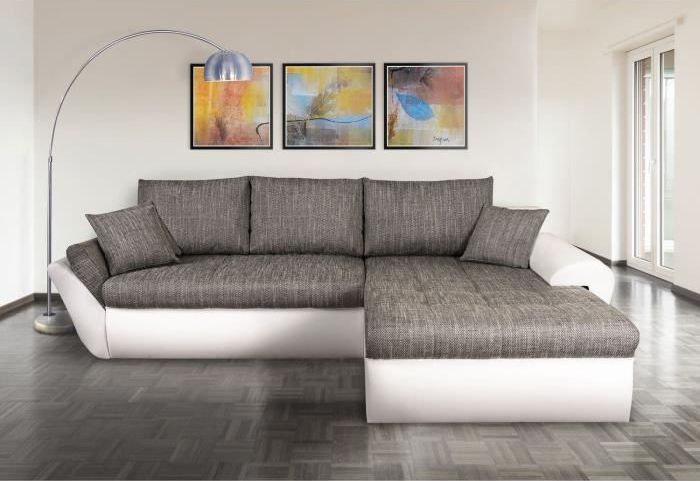 Canapé Dangle Convertible En PU Blanc Et Tissu Gris CADIX Canapé - Canapé tissu contemporain