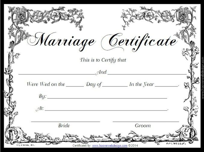 Marriage Certificate Template  Stationary Templates
