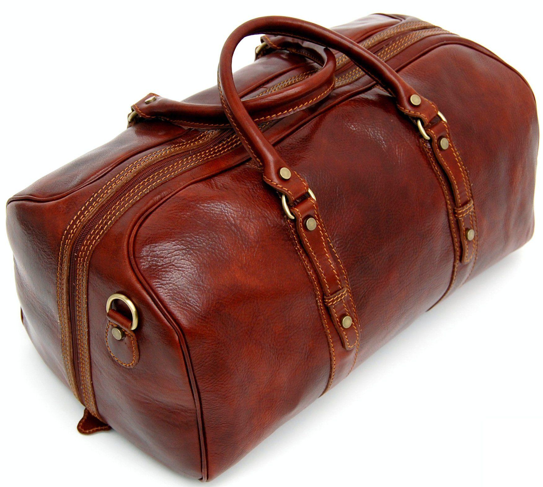 e33c317ddaf7 Genuine Italian Leather Holdall Cabin Bag Case Duffel Hand Luggage ...