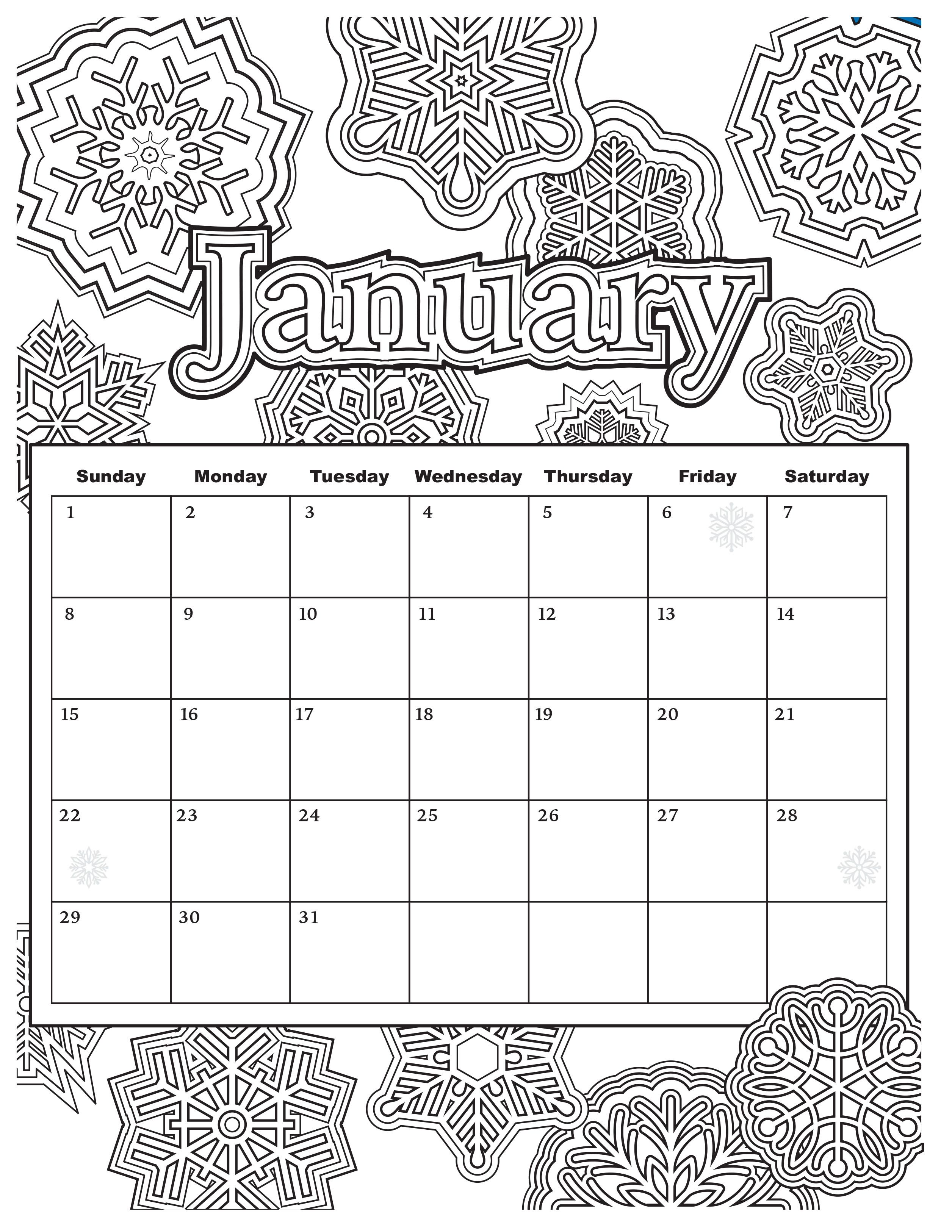 Added jan 9 start your year off right with this for Calendar coloring page