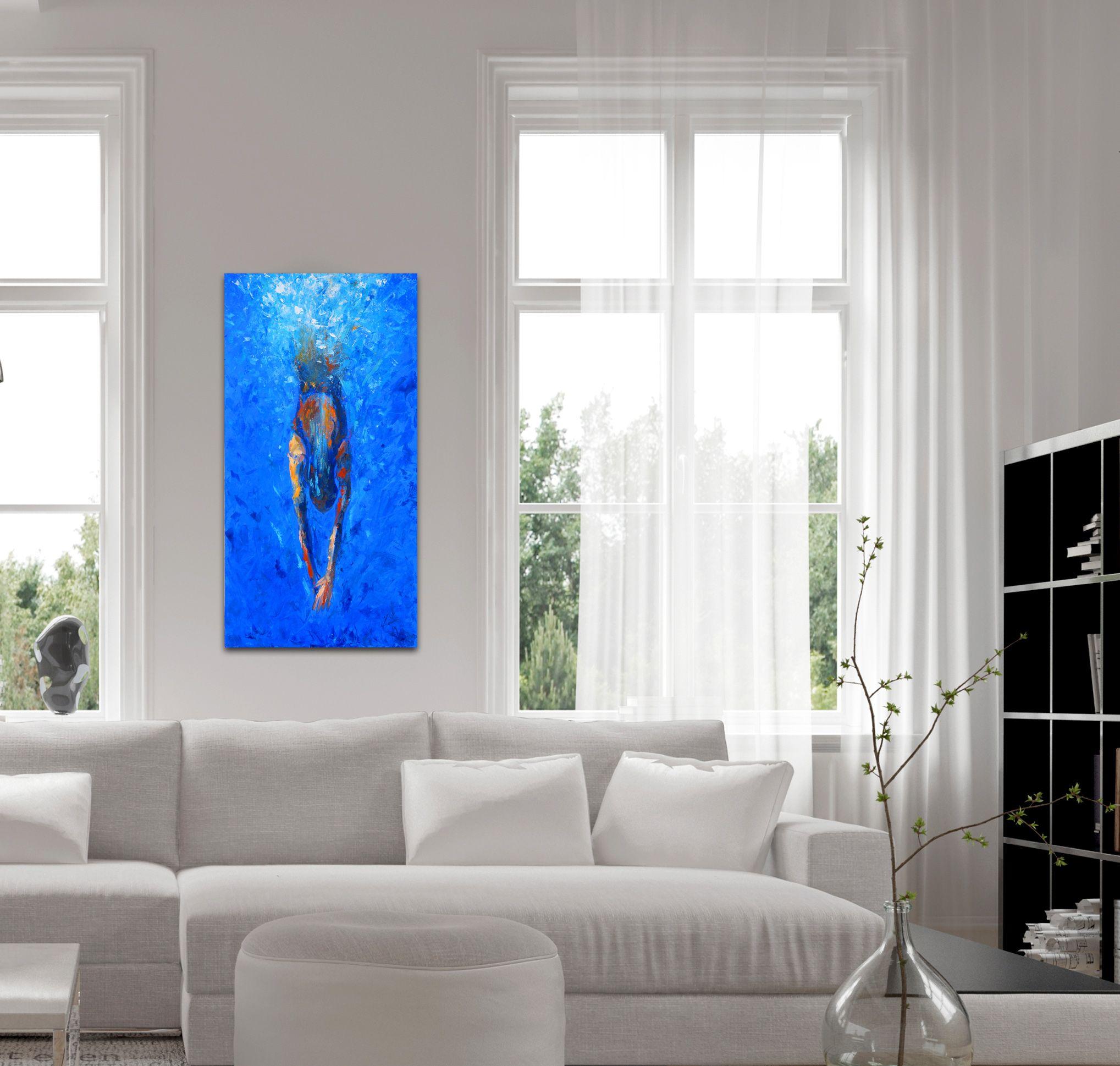 Otwarta kuchnia w bieli hola design homesquare - Acrylic And Oil On Board Swim Diving Blue Interior Design Art