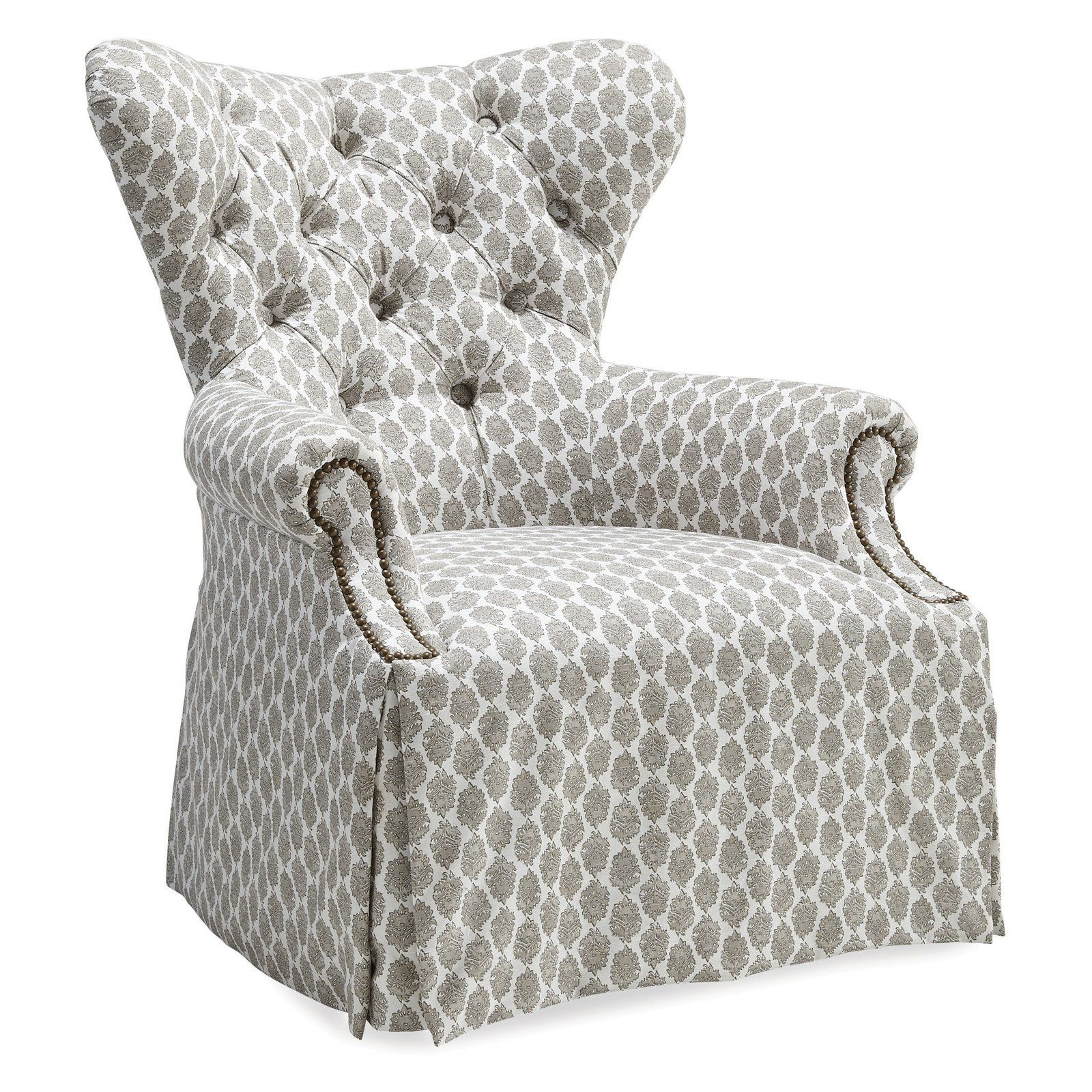 A R T Furniture Ava Grey Tufted Skirted Wing Chair