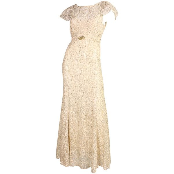 Pre-owned 1930\'s Lamé Lace Ivory Bias-Cut Gown ($1,800) ❤ liked ...