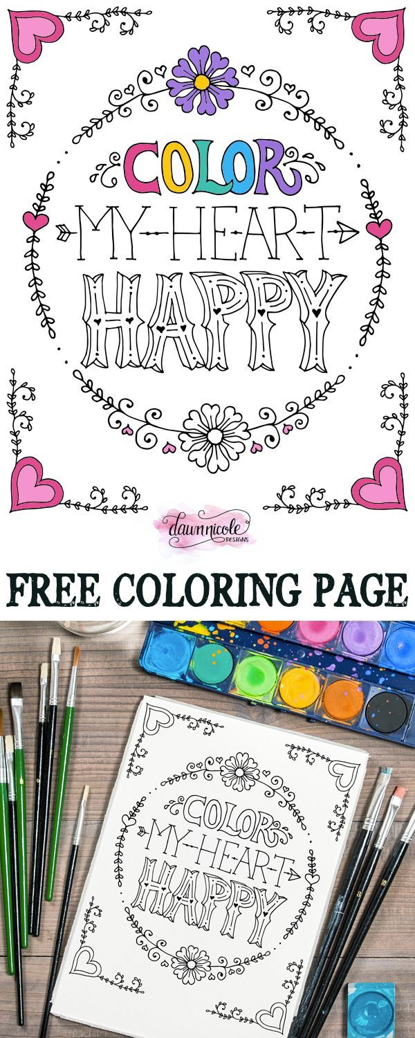 Color My Heart Happy Coloring Page Coloring Pages Adult