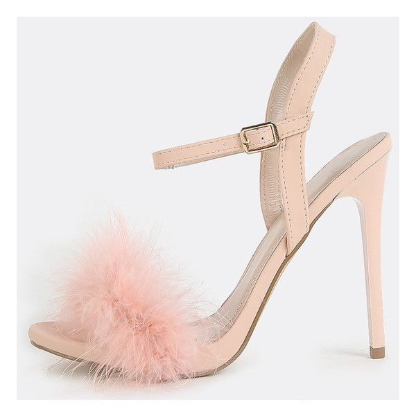 Feather shoes, Pink high heel shoes
