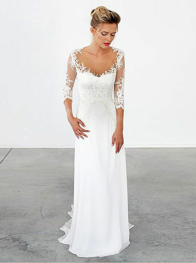 Elegant Prom Dress, A-Line Illusion Scoop Sweep Train Chiffon Appliques Wedding Dress with Sleeves