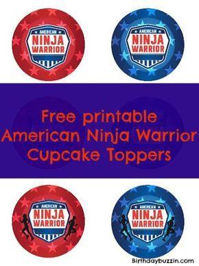 Free Printable American Ninja Warrior Cupcake Toppers