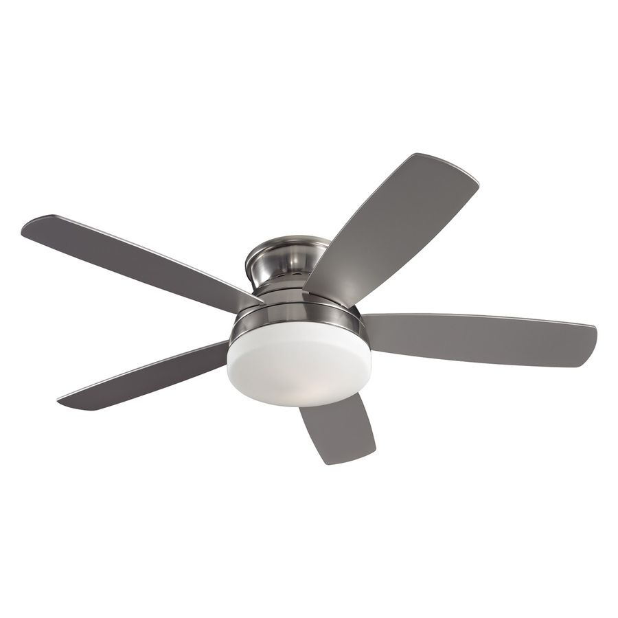 Shop Monte Carlo Fan Company In Brushed Steel Flush Mount Ceiling - Flush mount kitchen ceiling fans with lights