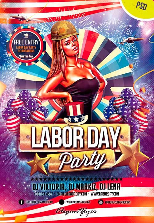Labor Day Free Flyer Psd Template - Http://Freepsdflyer.Com/Labor