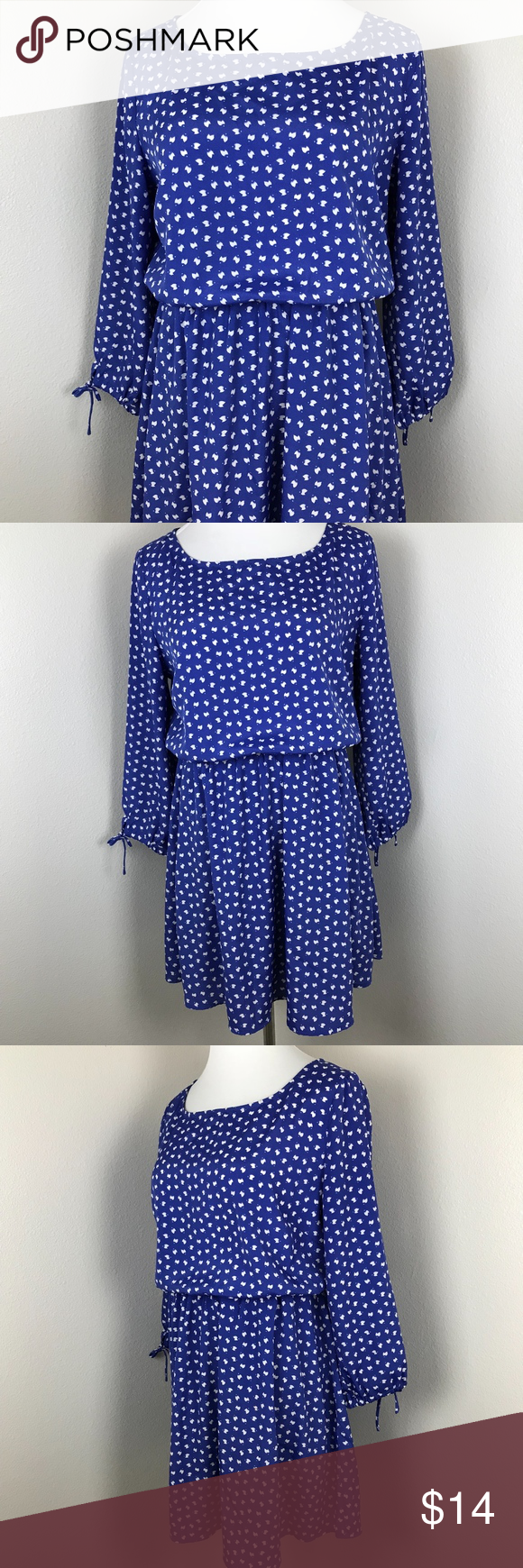 Maison Jules Printed Cobalt Dress Large -Excellent condition without flaws -Bust is 19