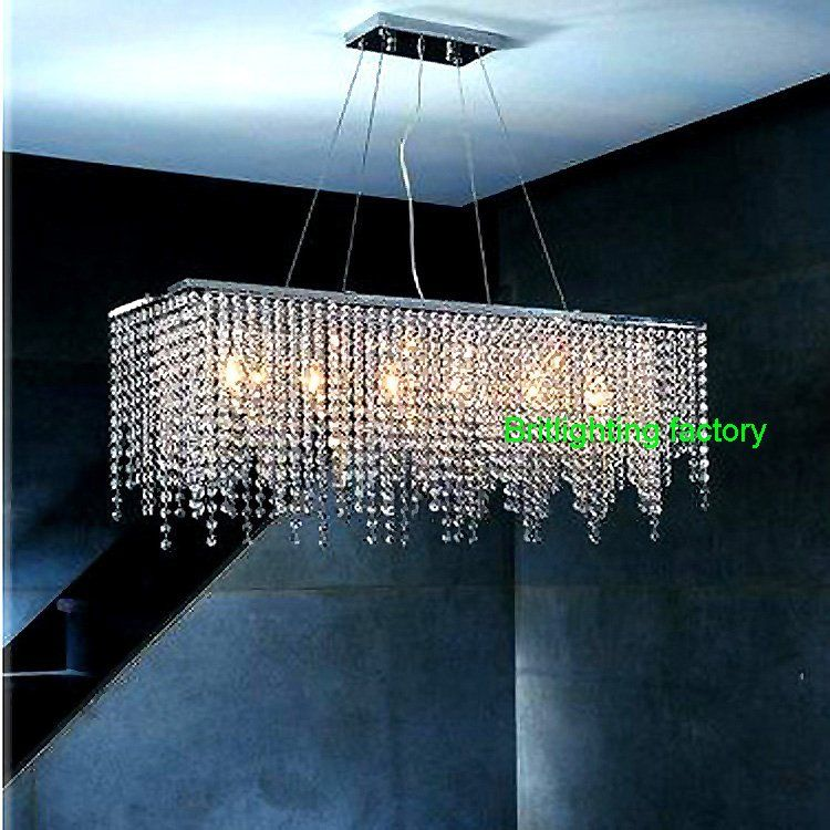Online Shop Modern Crystal Chandelier Light For Dining Room Led Chandeliers Square Lamp Rectangle Living Lights Curtain