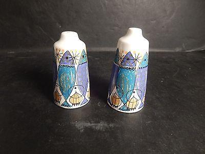 Figgjo Flint Clupea Turi Design Salt & Pepper Shaker Norway Mid Century Pair