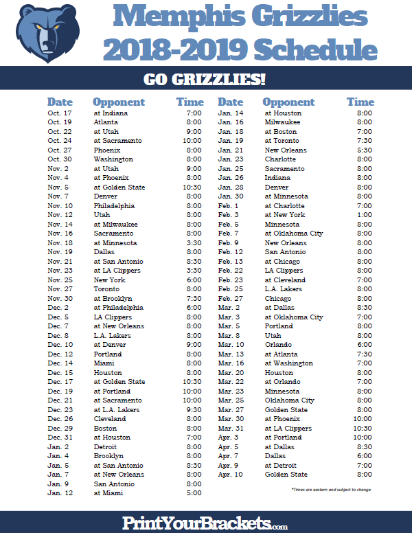 graphic relating to 76ers Printable Schedule referred to as Printable 2018-2019 Memphis Grizzlies Program Printable