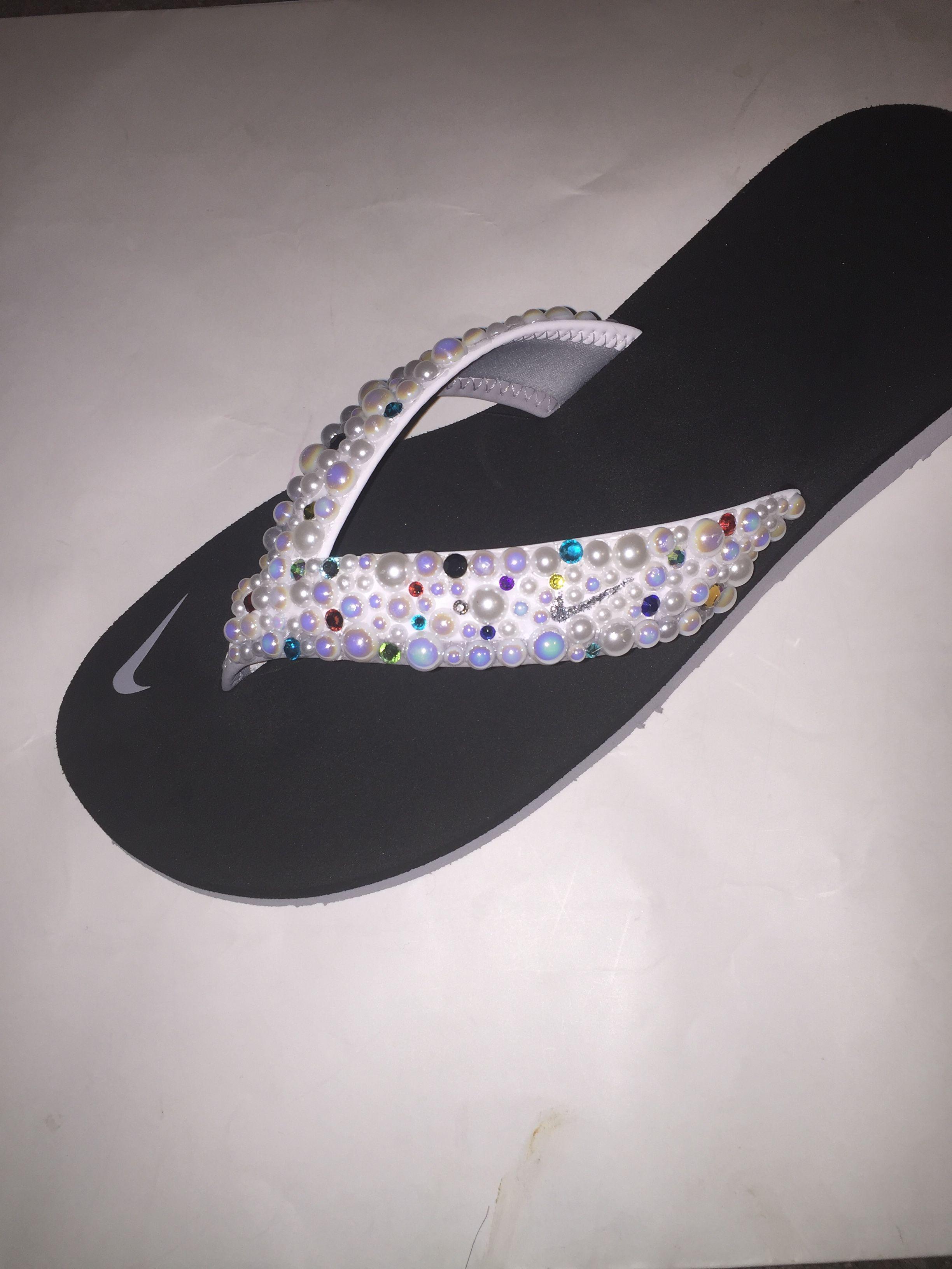 6af0b7abbd35a Custom Bling Nike Flip Flop Slides Benassi