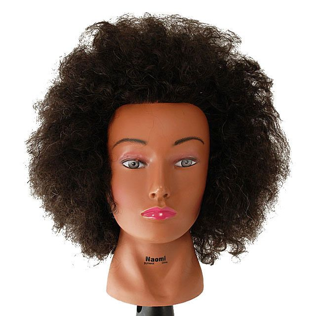 "NEW 18"" Cosmetology Mannequin Head Afro Human Hair - Naomi - E700"