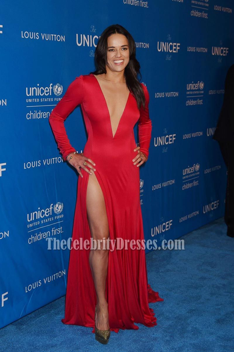 Michelle rodriguez red long sleeves deep v backless evening prom